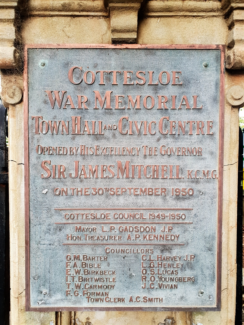 War Memorial Hall - Entrance Sign